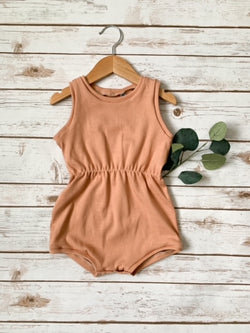 Peach Cinched Summer Tank Romper