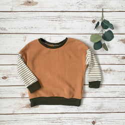 Putty Color Block Baggy Pullover