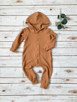 Putty Waffle Hooded Snap Romper