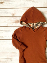 Rust Waffle with Floral Hooded Bodysuit