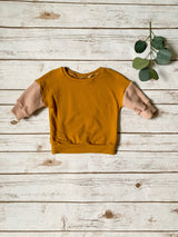 Mustard Color Block Baggy Pullover
