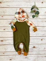 Olive Plaid Hooded Romper - My First Christmas