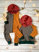 Color-Block Hooded Snap Romper
