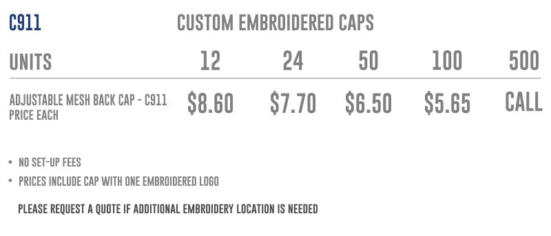 c911 cap price list