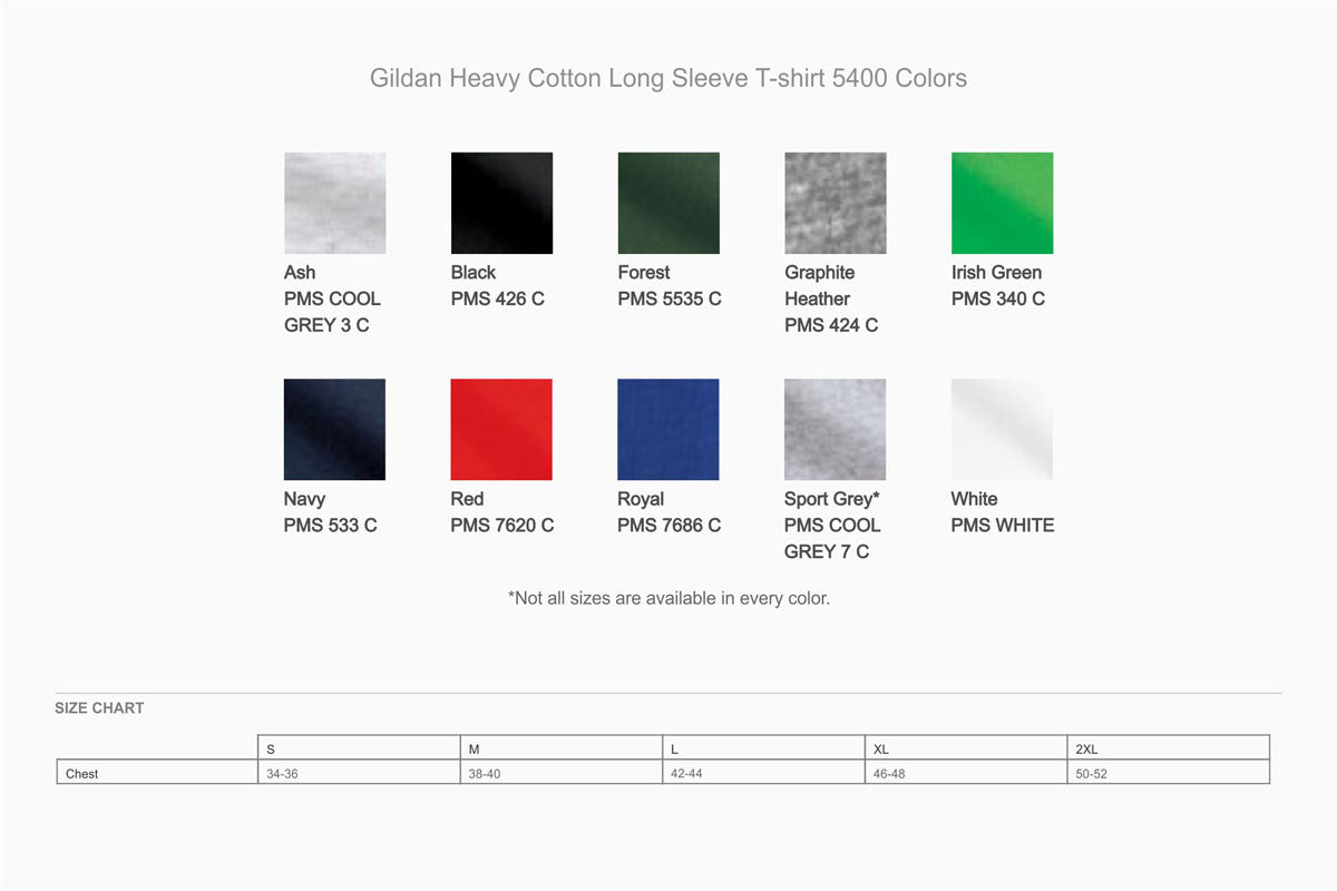 Copy of Gildan Heavy Cotton Long Sleeve T-Shirt (5400) - WUE INC
