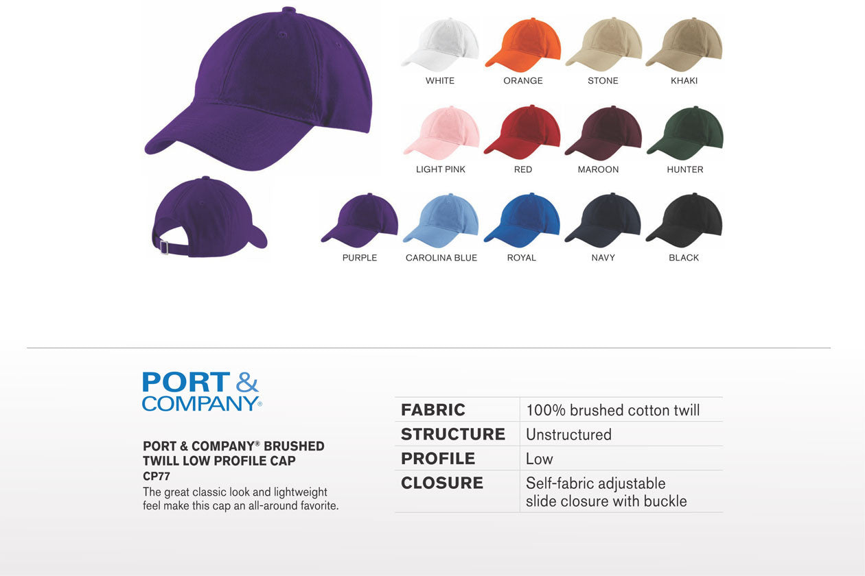 Port & Company - Brushed Twill Low Profile Cap. CP77 - WUE INC
