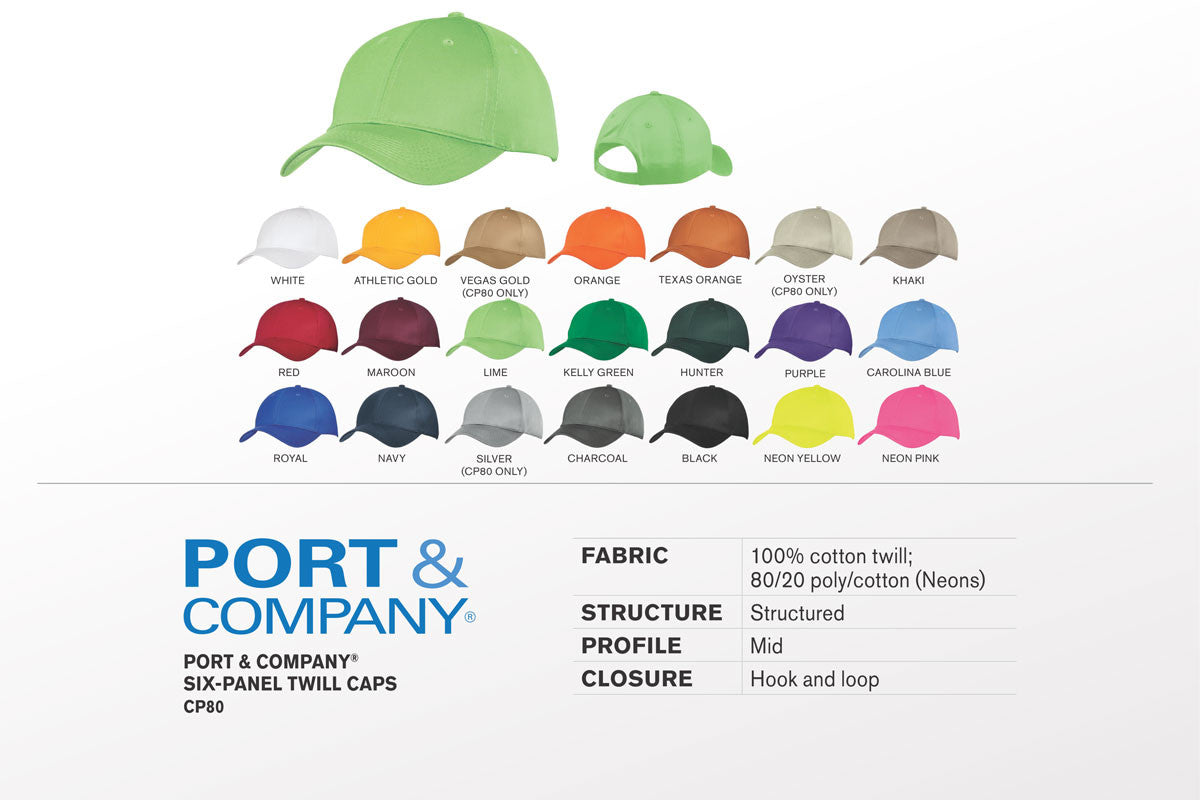 Port & Company - Six-Panel Twill Cap. CP80 - WUE INC