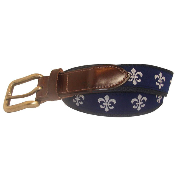 Navy & White Fleur de Lis Club Belt