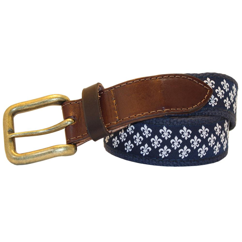Midnight Navy Mini Fleur de Lis Club Belt