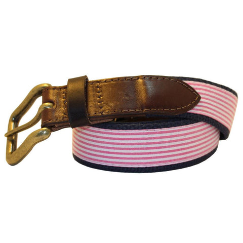 Panama Pink Seersucker Club Belt