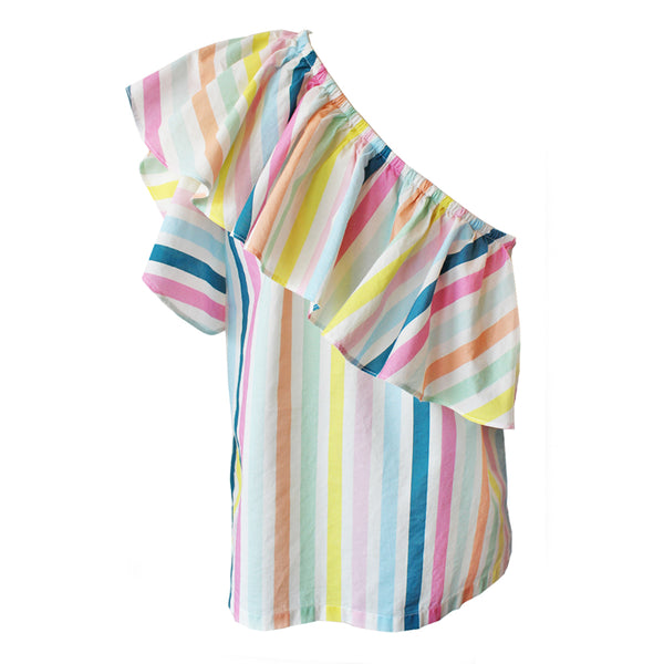 Rainbow One Shoulder Ruffle Blouse