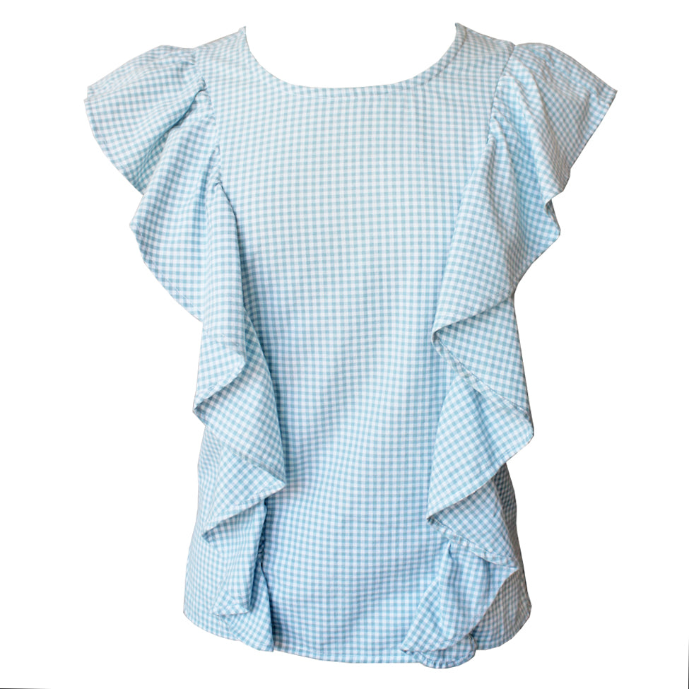 Blue Gingham Ruffle Blouse