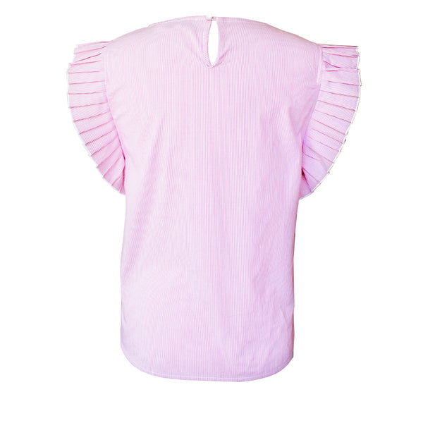 Pink Stripe Accordion Blouse