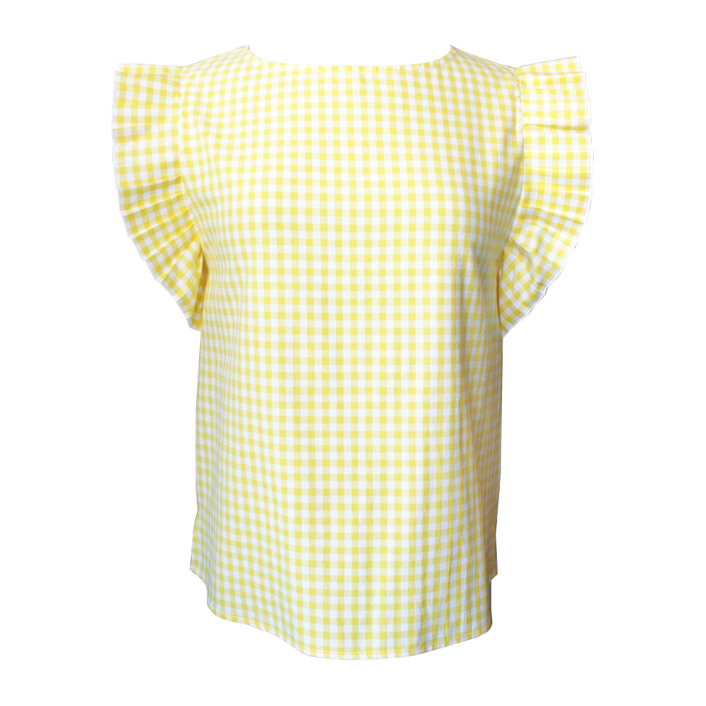 Yellow Gingham Accordion Blouse