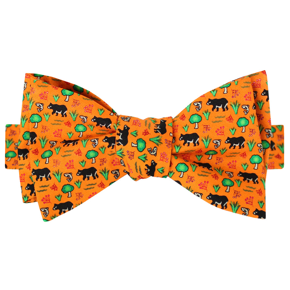 Citrus Orange Boys' Black Bear Bow Tie