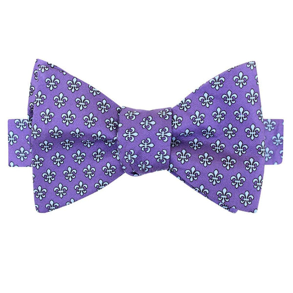 Regal Purple Fleur de Lis Bow Tie