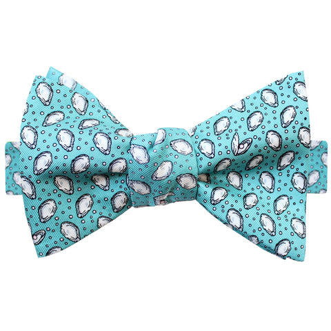Sea Breeze Blue Mini Gulf Oysters Bow Tie
