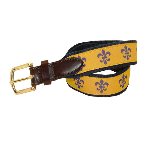 Gold & Purple Boys' Fleur De Lis Club Belt
