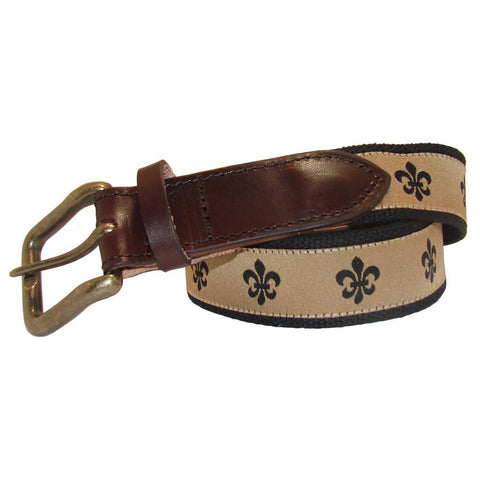Gold & Black Fleur de Lis Club Belt