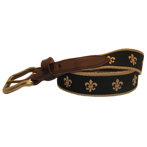 Black & Gold Fleur de Lis Club Belt