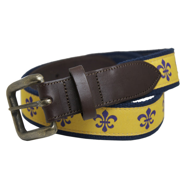 Tiger's Eye Gold Fleur de Lis Club Belt