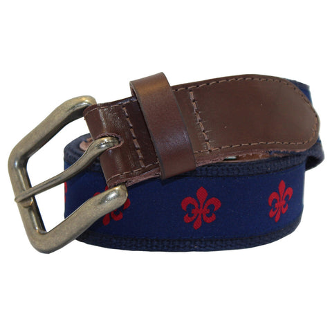 Navy & Red Fleur de Lis Club Belt