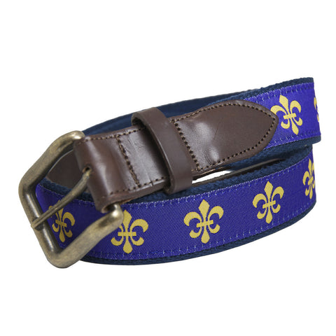 Regal Purple Fleur de Lis Club Belt