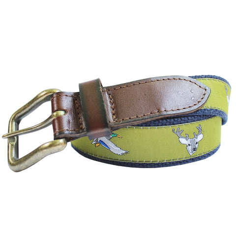 Mossy Green Ducks and Bucks Club Belt