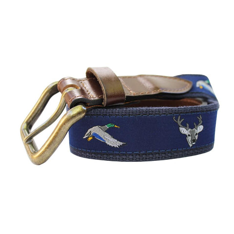 Midnight Navy Ducks and Bucks Club Belt