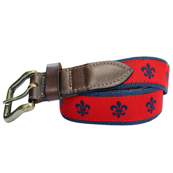 Cayenne Red Fleur de Lis Club Belt