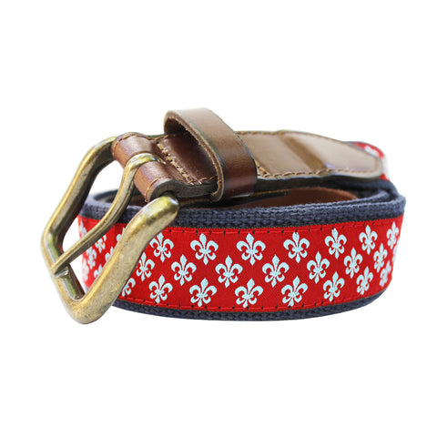 Cayenne Red Mini Fleur de Lis Club Belt