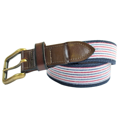 Red & Navy Seersucker Club Belt