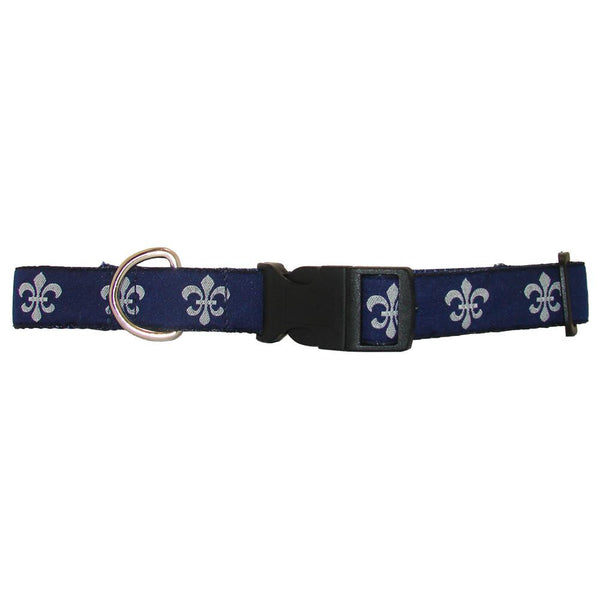 Navy & White Fleur de Lis Dog Collar