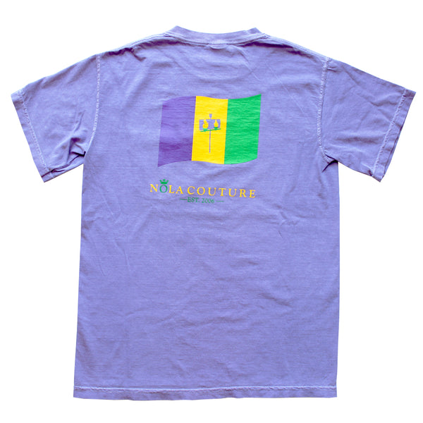 Flambeaux Mardi Gras Flag Short Sleeve Tee