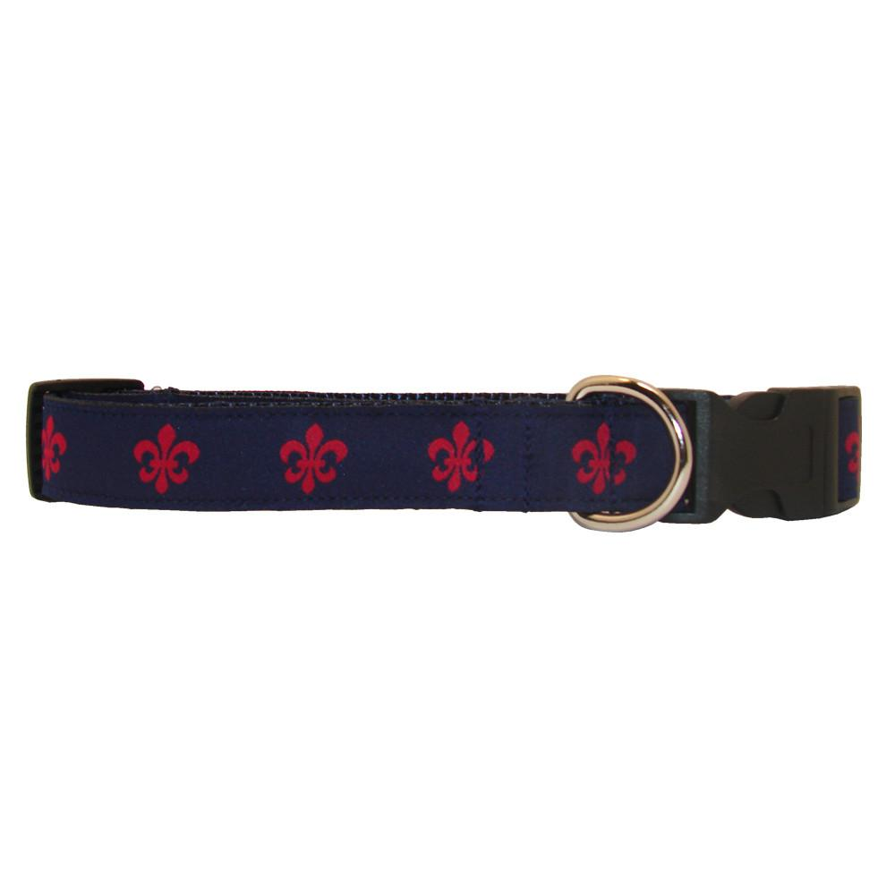 Navy & Red Fleur de Lis Dog Collar