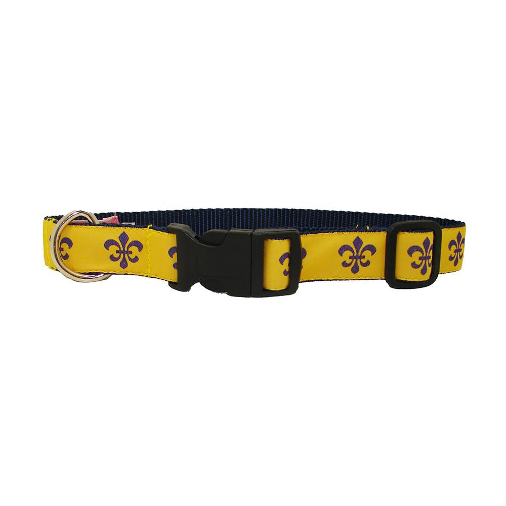 Gold & Purple Fleur de Lis Dog Collar