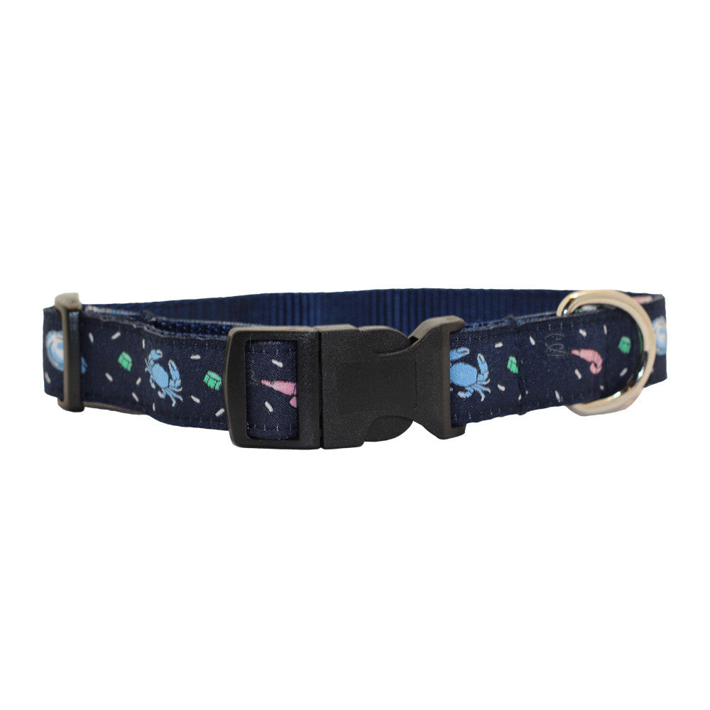 Midnight Navy Seafood Gumbo Dog Collar