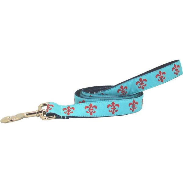 Aqua & Red Fleur de Lis Dog Leash