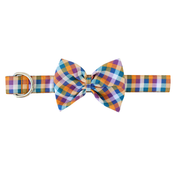 Autumn Gingham Bow Tie Dog Collar