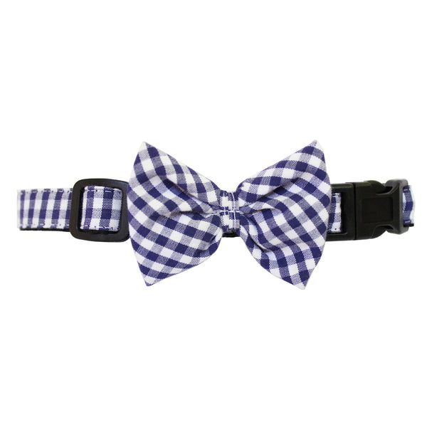 Navy Extra Small Gingham Dog Bow Collar