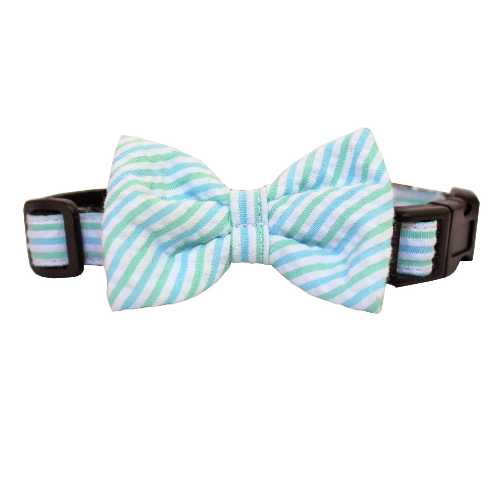 Mint & Blue Extra Small Seersucker Dog Bow Collar