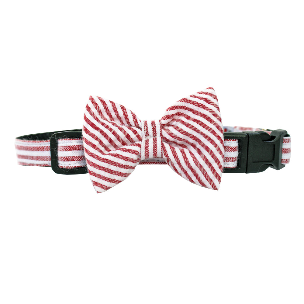 Red Extra Small Seersucker Dog Bow Collar