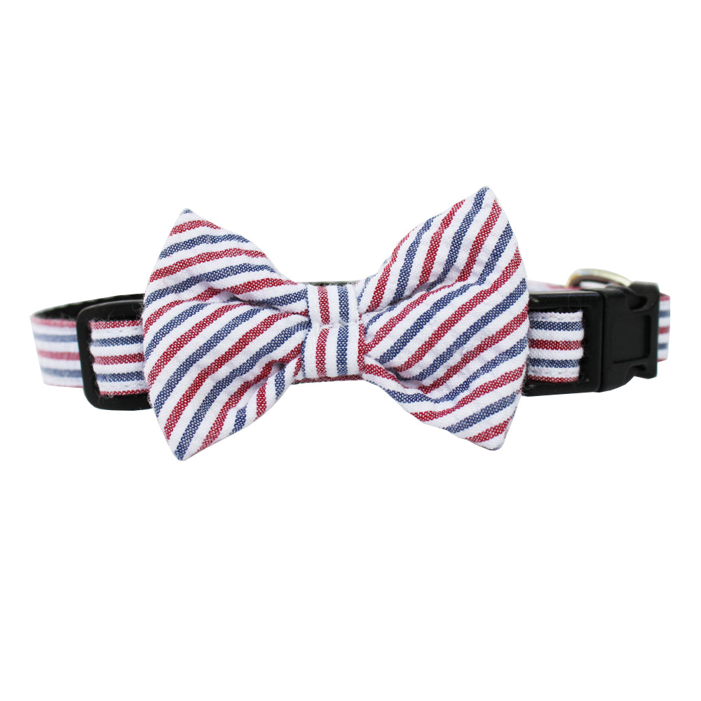 Red & Navy Extra Small Seersucker Dog Bow Collar