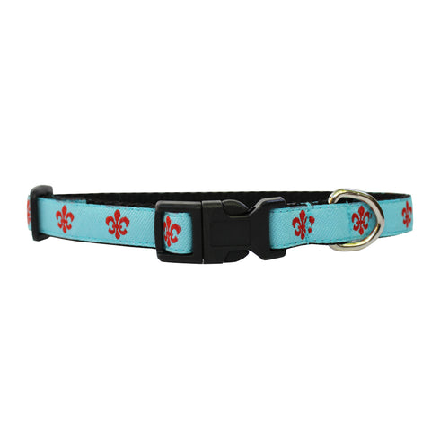 Aqua & Red Extra Small Fleur de Lis Dog Collar