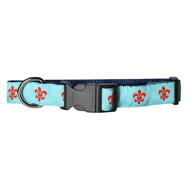 Aqua & Red Fleur de Lis Dog Collar