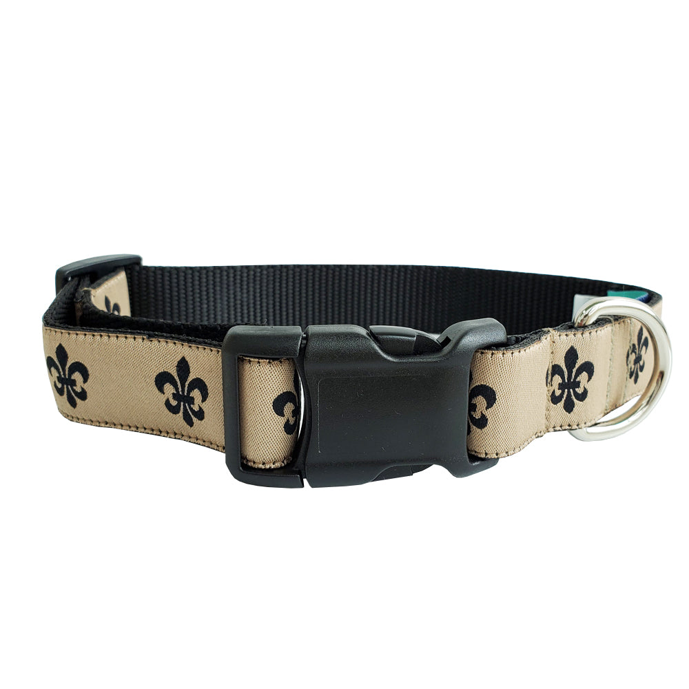 Gold & Black Fleur de Lis Dog Collar