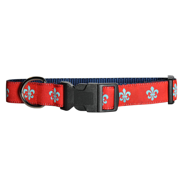 Red & Aqua Fleur de Lis Dog Collar
