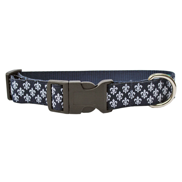 Midnight Navy Mini Fleur de Lis Dog Collar