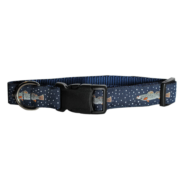 Midnight Navy Speckled Trout Dog Collar
