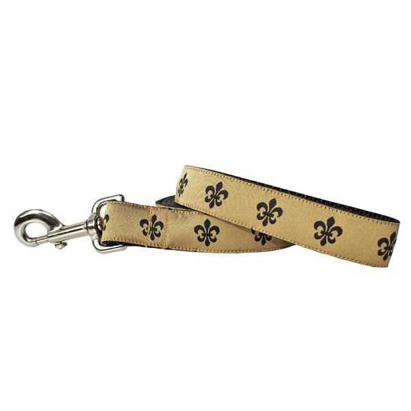Gold & Black Fleur de Lis Dog Leash